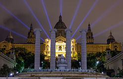 Espanya Square in Barcelona. And National Palace at night Royalty Free Stock Photography