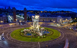 Espanya Square in Barcelona. And National Palace at night, top view Stock Photography