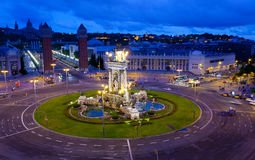 Espanya Square in Barcelona. And National Palace at night, top view Stock Photos