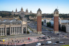 Espanya Square in Barcelona and National Palace Stock Image