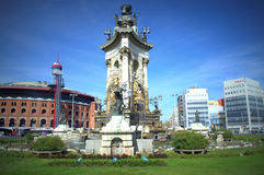 Espanya square,Barcelona. Placa De Espanya fountain and Arenas de Barcelona at the background- a bullring  built in 1900 in the Moorish Revival style and now Stock Image