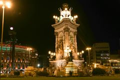 Espanya Square in Barcelona - Spain. Espanya Square in Barcelona and National Palace Stock Images
