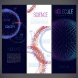 Espaço que consiste em linhas de cor diferente, moléculas, vírus Imagens de Stock