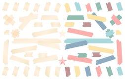 Esparadrapo colorido e branco, pegajoso, mascarando, tiras da fita adesiva para o texto no fundo branco Ilustração do vetor Imagem de Stock Royalty Free
