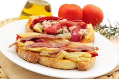 Espardenya, typical sandwich in Catalonia Royalty Free Stock Images