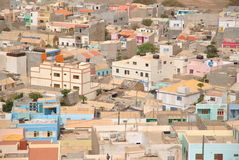 Espargos, capital city of island Sal, Cabo Verde. Simply african houses and streets in Espargos city, capital city of island Sal, Cabo Verde royalty free stock image