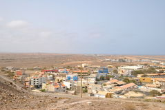 Espargos, capital city of island Sal, Cabo Verde. Simply african houses and streets in Espargos city, capital city of island Sal, Cabo Verde stock photo