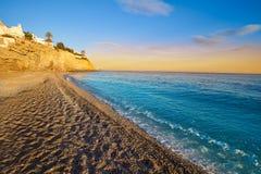 Esparrello beach playa in Villajoyosa of alicante royalty free stock photo