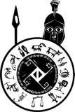Espartano con el escudo ilustración del vector