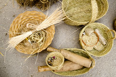 Esparto basketry handcrafts Mediterranean Balearic Royalty Free Stock Photography