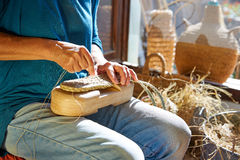Esparto halfah grass crafts craftsman hands Royalty Free Stock Photography