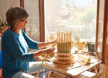 Esparto halfah grass crafts craftsman woman Royalty Free Stock Photo