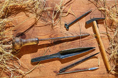 Esparto halfah grass crafts workshop tools Royalty Free Stock Image