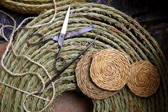 Esparto weaver crafts tools scissor needle. Reed grass enea traditional Spain Royalty Free Stock Photos