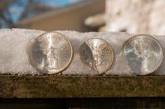 Espèces froides - pièces en argent sur une barrière Photographie stock libre de droits