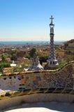 Especia-apelmace las casas en el parque Guell de Antonio Gaudi Fotos de archivo