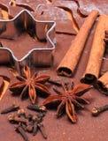 Especia y accesorios para cocer en la pasta para las galletas y el pan de jengibre de la Navidad Foto de archivo libre de regalías