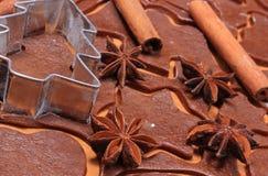 Especia y accesorios para cocer en la pasta para las galletas y el pan de jengibre de la Navidad Fotografía de archivo libre de regalías