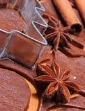 Especia y accesorios para cocer en la pasta para las galletas y el pan de jengibre de la Navidad Imagen de archivo libre de regalías
