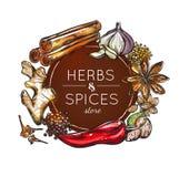 Especia y Herb Store Emblem libre illustration