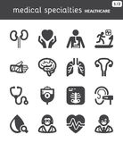 Especialidades médicas Ícones lisos dos cuidados médicos preto Imagens de Stock Royalty Free