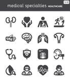 Especialidades médicas Iconos planos de la atención sanitaria negro Imágenes de archivo libres de regalías