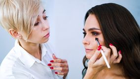 Especialista del salón de belleza que hace el maquillaje profesional para la mujer morena joven foto de archivo libre de regalías