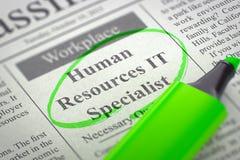 Especialista Hiring Now dos recursos humanos a TI 3d Fotografia de Stock Royalty Free