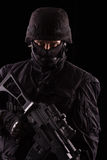 Especialista no uniforme com metralhadora Imagens de Stock Royalty Free