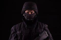 Especialista no uniforme com metralhadora - adiante Fotografia de Stock