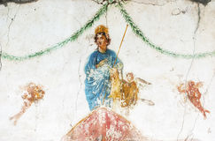 Especially deity of fresco house, in ancient Pompeii. Royalty Free Stock Photography