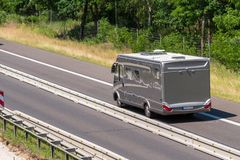 A motorhome in a motorway construction site. Especially in the summertime there are a lot of construction sites on the motorway, especially when you go on royalty free stock photos