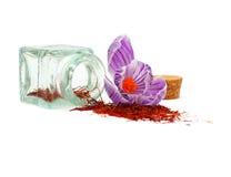 Especiaria do aç6frão e flor do açafrão imagem de stock royalty free
