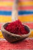 Especiaria do açafrão no souk de Marrocos, close up Imagem de Stock