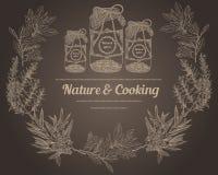 A especiaria do vintage range a natureza da placa de giz e ervas do cozimento Imagem de Stock Royalty Free