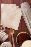 Especiaria e material secados do açafrão para empacotar Foto de Stock