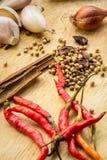 Especiaria, erva, condimento, tempero, pó, fresco, gourmet, colher, de madeira, açafrão Foto de Stock Royalty Free
