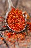 Especiaria secada do açafrão Fotografia de Stock