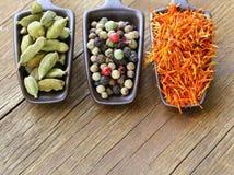 Especiarias (açafrão, pimenta e cardamomo) na colher Foto de Stock Royalty Free