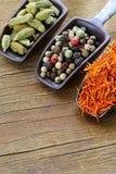 Especiarias (açafrão, pimenta e cardamomo) na colher Imagem de Stock