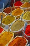 Especiarias coloridas no saco plástico fotografia de stock royalty free