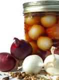 Especiarias com o frasco de cebolas conservadas Foto de Stock