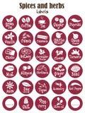 Especiarias, condimentos e ervas ícone ou etiquetas do frasco Fotos de Stock
