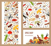 Especiarias culinárias populares realísticas Jogo de etiquetas Sinal da loja com carro de compra listras e cartões Foto de Stock Royalty Free