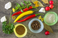 Especiarias de Ipripravy para cozinhar Fotografia de Stock