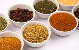 Especiarias diferentes nos pratos brancos Fotos de Stock