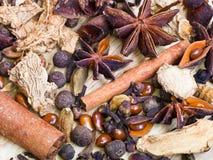 Especiarias diferentes para o vinho ferventado com especiarias Fotos de Stock Royalty Free