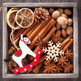 Especiarias do Natal e brinquedos do Natal Imagem de Stock