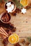 Especiarias e cookies do Natal em um quadro festivo foto de stock