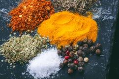 Especiarias e ervas diferentes em uma ardósia preta Especiarias indianas Ingredientes para cozinhar Conceito saudável comer Vária Fotografia de Stock Royalty Free